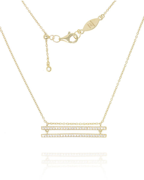 Penny Levi Gold Double Pave Bar Necklace