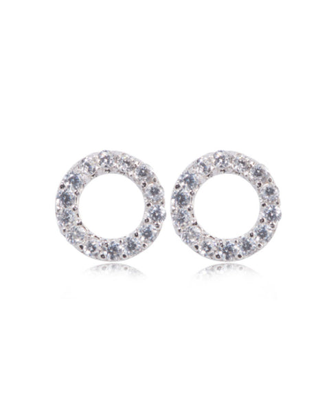 Penny Levi Silver Pave Open Stud Earrings