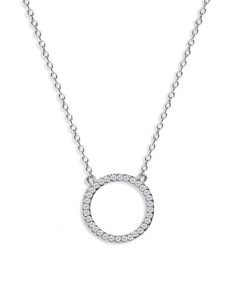 Penny Levi Pave Circle Pendant Necklace