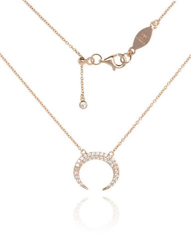 Penny Levi Rose Gold Crescent Necklace