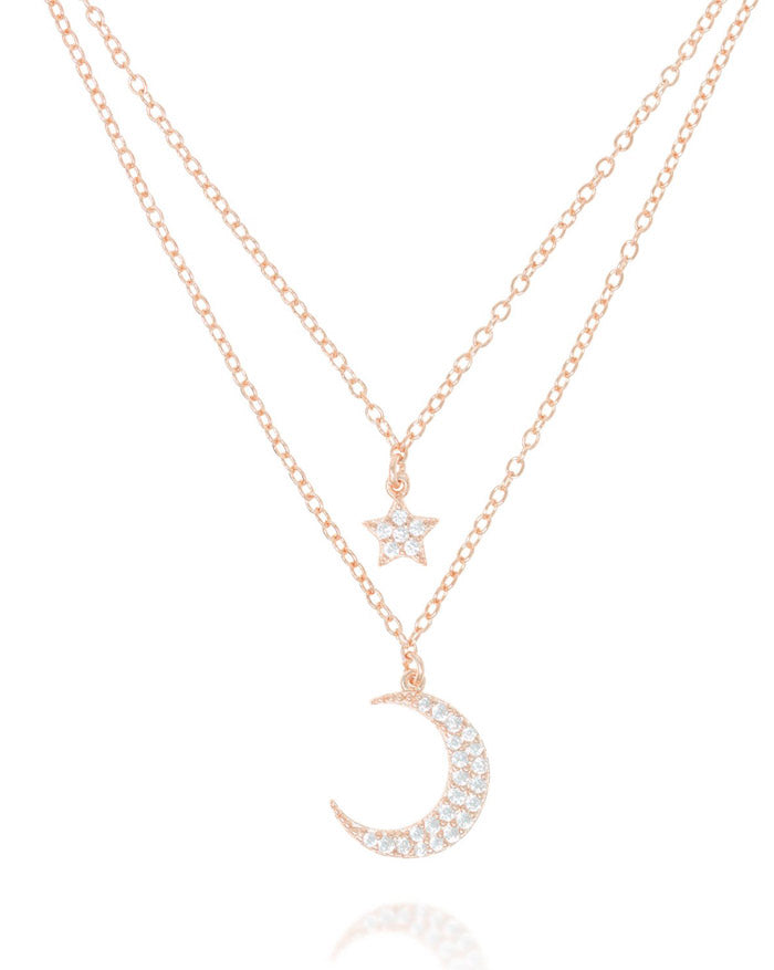 Penny Levi Rose Gold Double Moon and Star Necklace | My Violet Hill