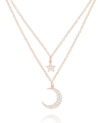 Penny Levi Rose Gold Double Moon and Star Necklace