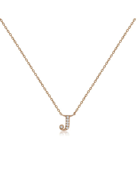 Penny Levi Rose Gold Initial J Necklace