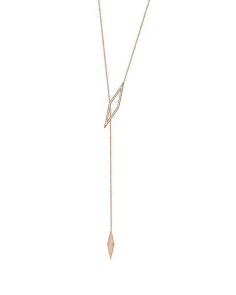 Penny Levi Rose Gold Lariat with Pave Diamond