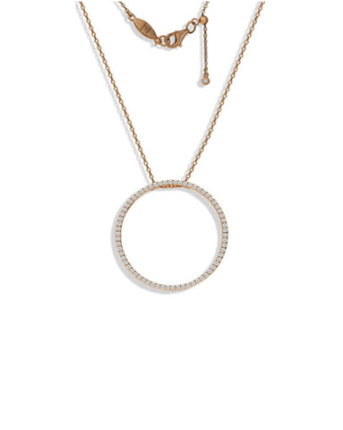 Penny Levi Rose Gold Pave Large Circle Pendant