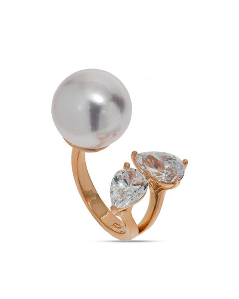 Penny Levi Rose Gold Open Pearl Ring