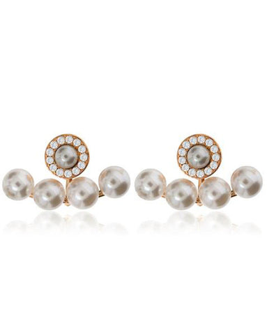 Penny Levi Rose Gold Pearl Jacket Earrings