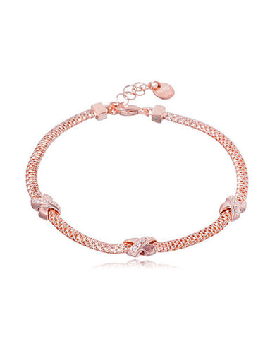 Penny Levi Rose Gold Plated Bracelet with Three Kisses