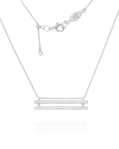 Penny Levi Silver Double Pave Bar Necklace