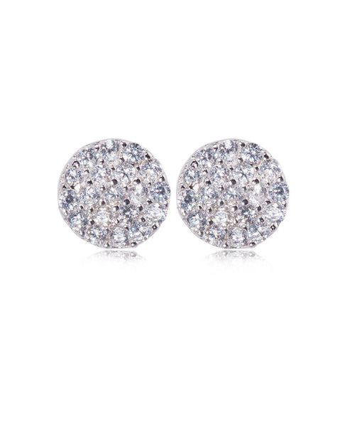 Penny Levi Round Sterling Silver Pave Studs