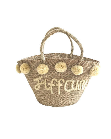 Natural Personalised Pom Pom Bag