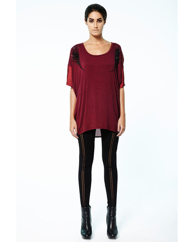 Prey of London Embellished Feather Oversized Top