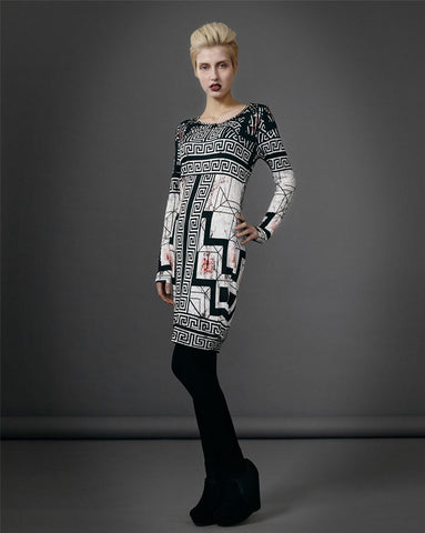 Prey of London Jersey Tile Print Dress