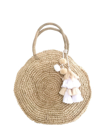Round Natural Straw Beach Bag