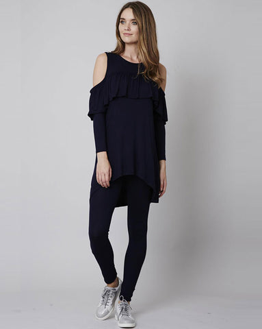 Navy Ruffle Cold Shoulder Loungesuit