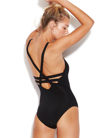 Seafolly Active Black Deep V Maillot