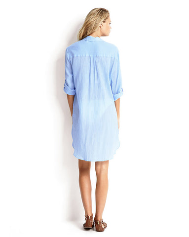 Seafolly Beach Blue Crinkle Twill Beach Shirt