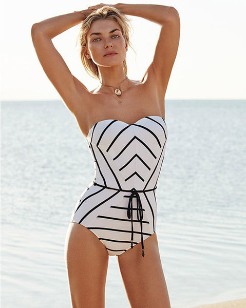 Seafolly Castaway Stripe Bandeau Maillot