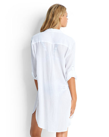 Seafolly Crinkle Twill Beach Shirt in White