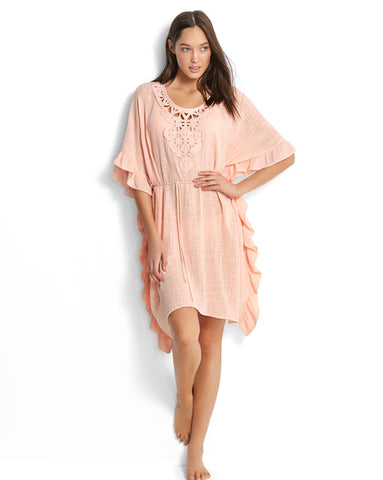Seafolly Geo Lace Ruffled Kaftan in Peach