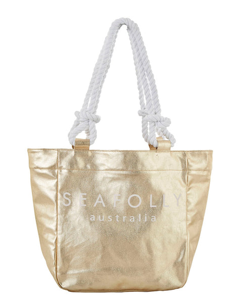 Seafolly Gold Canvas Rope Tote