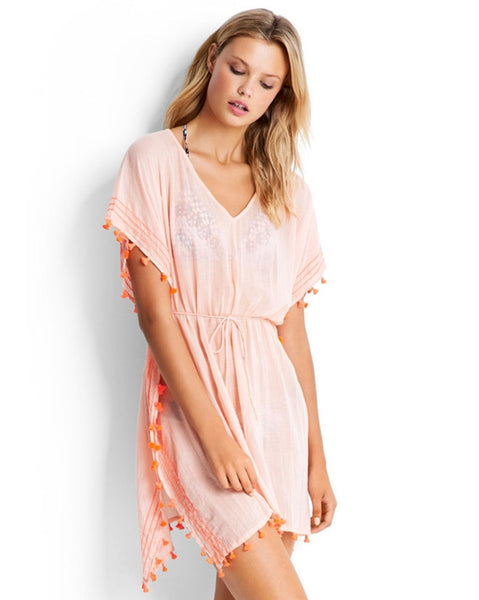 Seafolly Peach Mini Tassel Gauze Kaftan