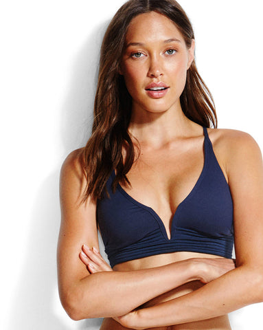 Seafolly Quilted Longline Tri Top in Indigo