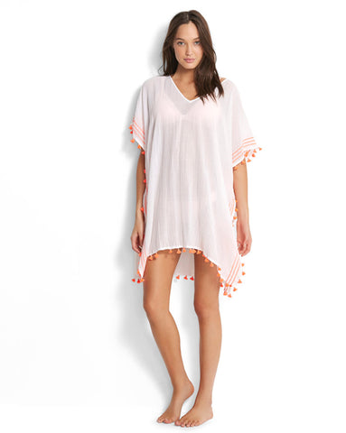 Seafolly White Mini Tassel Gauze Kaftan