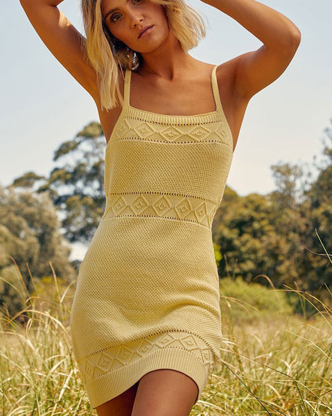 Seven Wonders Rose Knit Dress in Lemon