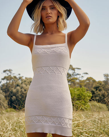 Seven Wonders Rose Knit Dress in White