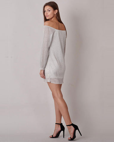 Silver Lurex Bardot Dress
