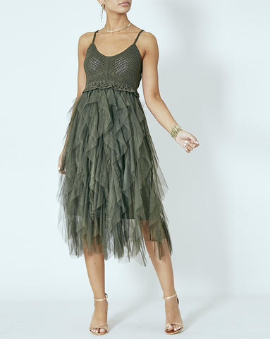 Swan Khaki Mesh Tiered Dress