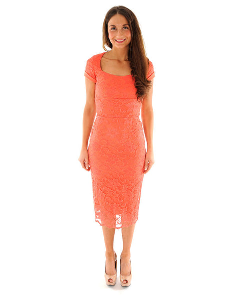 The Pretty Dress Company Rimini Coral Lace Dress