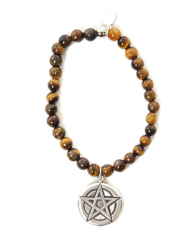 Three Spiritual Sisters Pentacle Bracelet in Tigers Eye