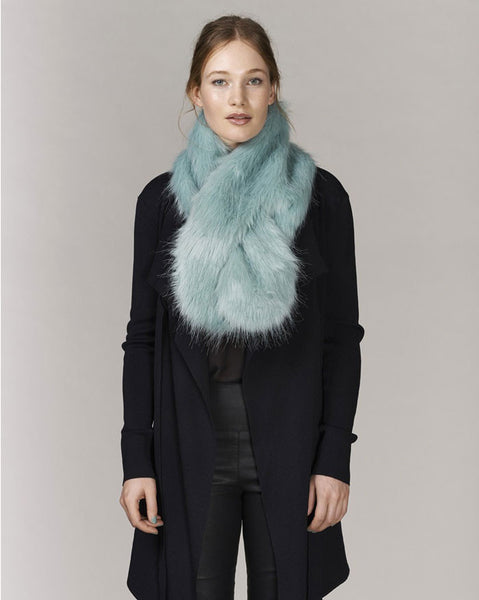 Unreal Fur Furocious Thread Through Scarf in Aqua