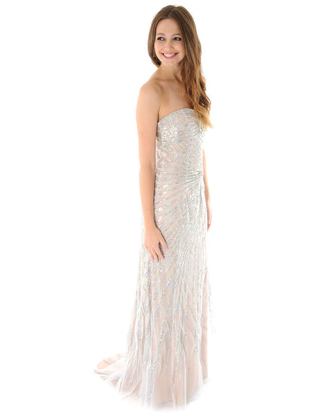 Jovani Nude and Silver Strapless Dress
