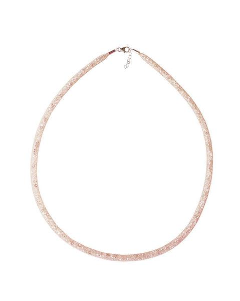 By Niya Dazzle Me Nude Mesh with Clear Crystal Necklace