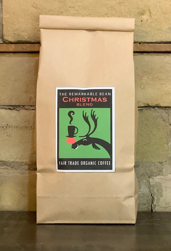 Christmas Blend Coffee—- med. roast, spicy, citrus and chocolate notes, 454 grams