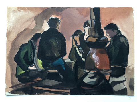 """Five Men and Wood Stove"" by Sperry Andrews, Amer., (1917-2005)"