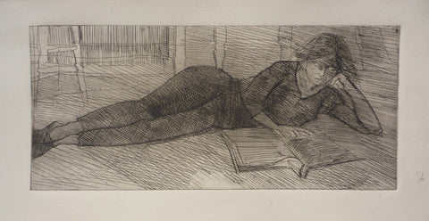 """Reclining Woman Reading"" by Sperry Andrews, Amer., (1917-2005)"