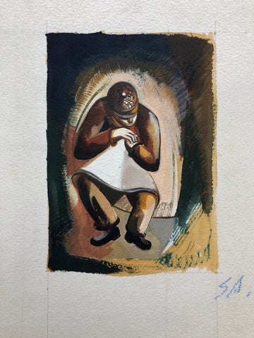 """Workman In Apron Resting"" by  Sperry Andrews, Amer., (1917-2005)"