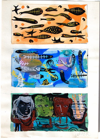 Gertrude Barrer Vertical Tryptich: (Fish, Fish, Heads)