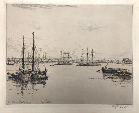 """Le Port de Bordeaux"" by Eugene Bejot, Fr., (1867-1931)"