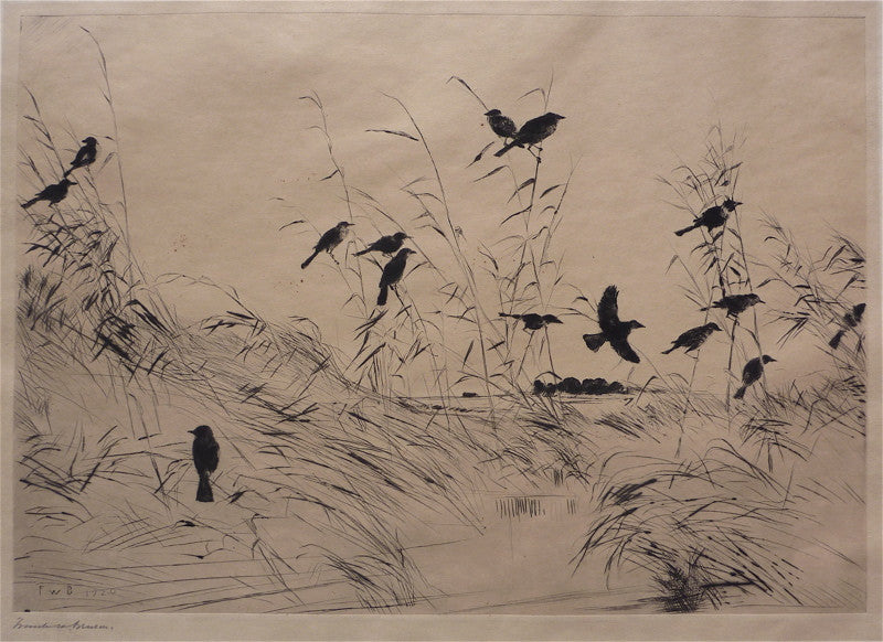 Frank W. Benson Blackbirds and Rushes