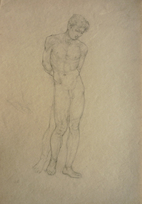 Hyman Bloom Standing Male Nude, Arms Behind, Looking Down