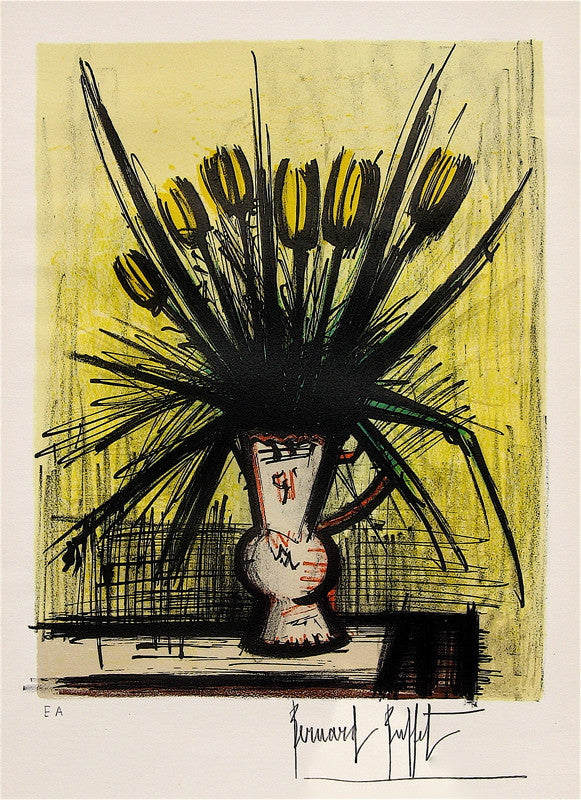 Bernard Buffet Yellow Tulips In Vase