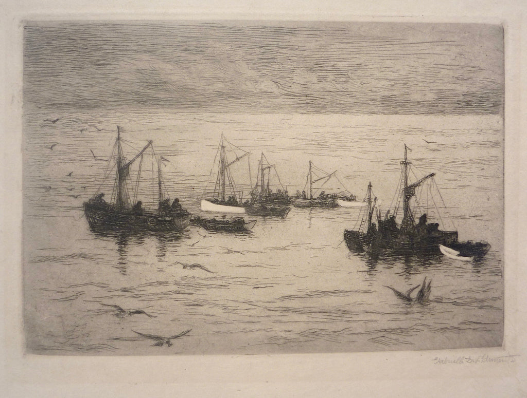 """The Herring Fleet, Gloucester"" by Gabrielle Deveaux Clements, Amer., (1858 -1948)"