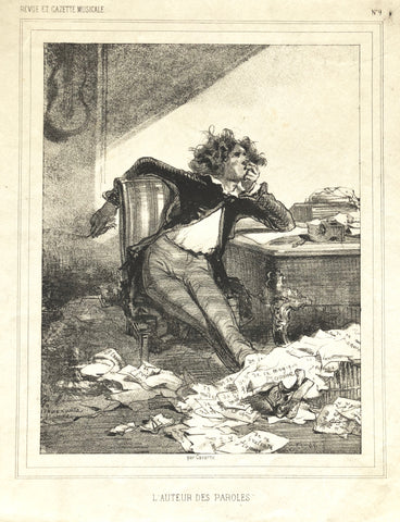 """L'Auteur Des Paroles"" by Paul Gavarni , Fr., (1804-1866)"