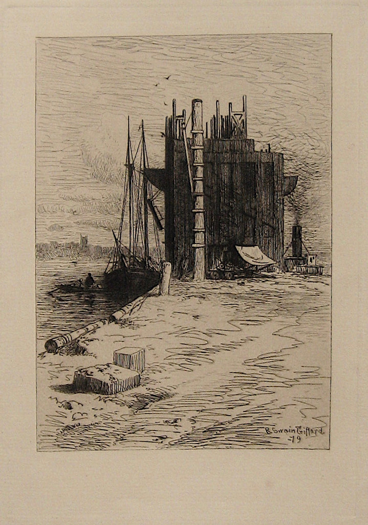 """Coal-Pockets at New Bedford, Mass""  by R. Swain Gifford, Amer., (1840-1905)"