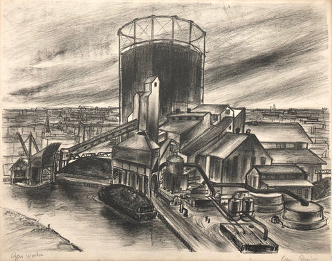 """Gas Works"" by Unknown - Dan Genier?, Amer., (20th Cent.)"